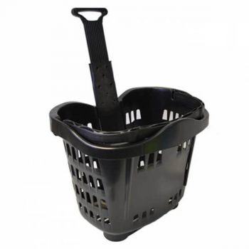 Rolling Plastic Basket 43l Black Telescopic
