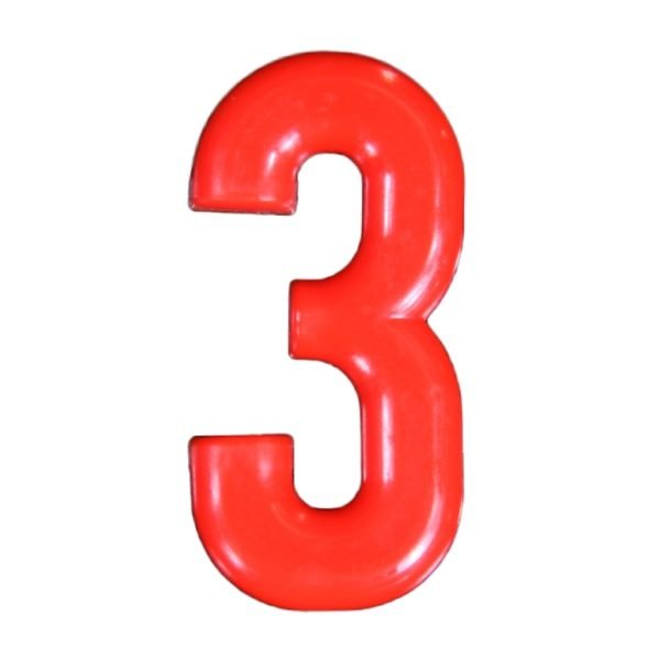 Push-in Numbers Red NO-3 Pack 20