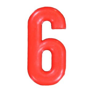 Push-in Numbers Red NO-6 Pack 20