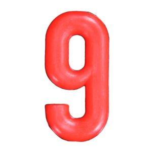 Push-in Numbers Red NO-9 Pack 20