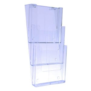Wall Mount Brochure Holder A4 3 Tier Portrait